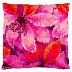 Geometric Magenta Garden Large Flano Cushion Case (One Side)