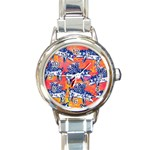 Little Flying Pigs Round Italian Charm Watch Front