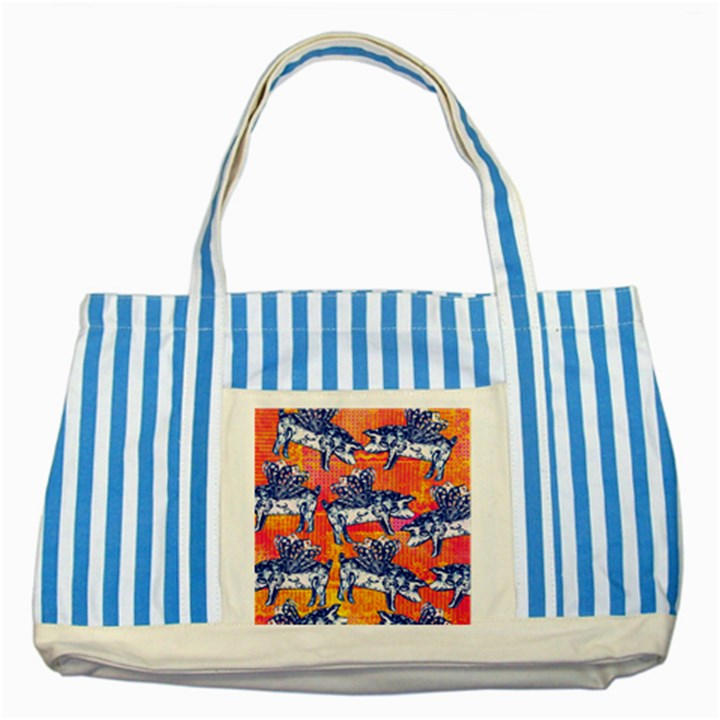 Little Flying Pigs Striped Blue Tote Bag