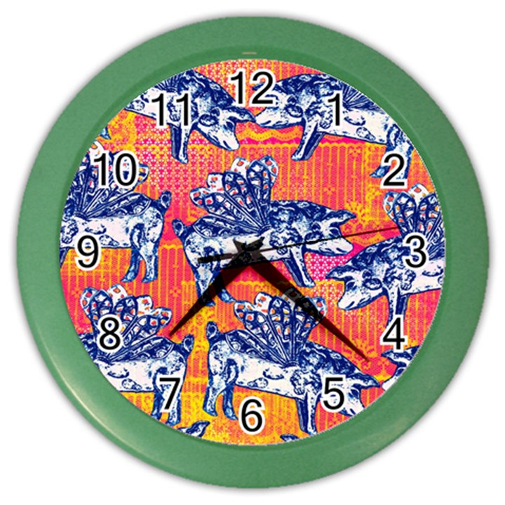 Little Flying Pigs Color Wall Clocks