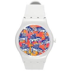 Little Flying Pigs Round Plastic Sport Watch (m) by DanaeStudio