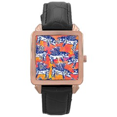 Little Flying Pigs Rose Gold Leather Watch  by DanaeStudio