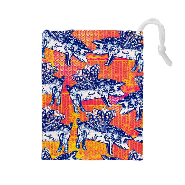 Little Flying Pigs Drawstring Pouches (Large)