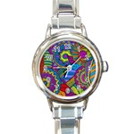 Pop Art Paisley Flowers Ornaments Multicolored Round Italian Charm Watch Front