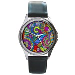 Pop Art Paisley Flowers Ornaments Multicolored Round Metal Watch