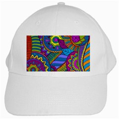 Pop Art Paisley Flowers Ornaments Multicolored White Cap by EDDArt