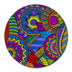 Pop Art Paisley Flowers Ornaments Multicolored Round Mousepads by EDDArt