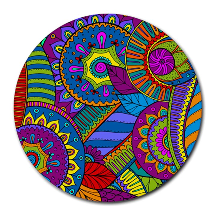 Pop Art Paisley Flowers Ornaments Multicolored Round Mousepads