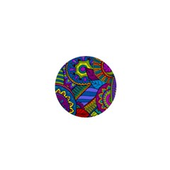 Pop Art Paisley Flowers Ornaments Multicolored 1  Mini Magnets by EDDArt