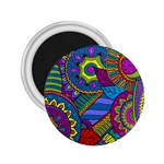 Pop Art Paisley Flowers Ornaments Multicolored 2.25  Magnets