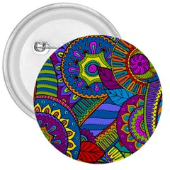Pop Art Paisley Flowers Ornaments Multicolored 3  Buttons by EDDArt