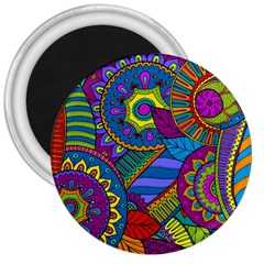 Pop Art Paisley Flowers Ornaments Multicolored 3  Magnets by EDDArt