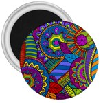 Pop Art Paisley Flowers Ornaments Multicolored 3  Magnets