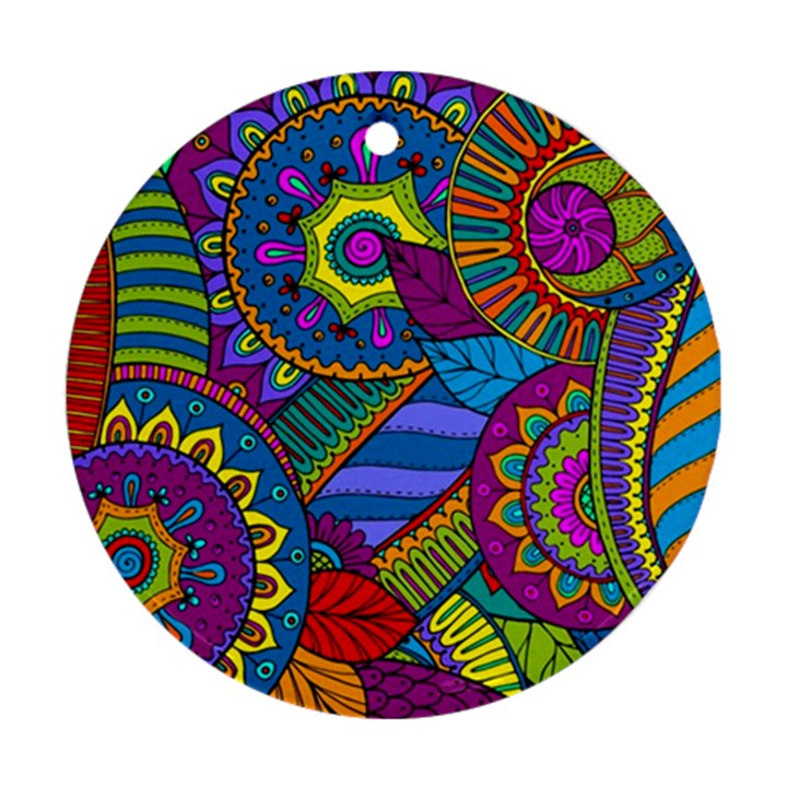 Pop Art Paisley Flowers Ornaments Multicolored Ornament (Round)