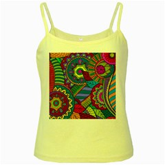 Pop Art Paisley Flowers Ornaments Multicolored Yellow Spaghetti Tank