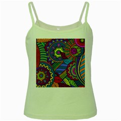 Pop Art Paisley Flowers Ornaments Multicolored Green Spaghetti Tank