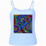 Pop Art Paisley Flowers Ornaments Multicolored Baby Blue Spaghetti Tank