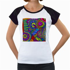 Pop Art Paisley Flowers Ornaments Multicolored Women s Cap Sleeve T