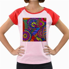 Pop Art Paisley Flowers Ornaments Multicolored Women s Cap Sleeve T Shirt