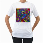 Pop Art Paisley Flowers Ornaments Multicolored Women s T-Shirt (White) (Two Sided)