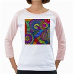 Pop Art Paisley Flowers Ornaments Multicolored Girly Raglans