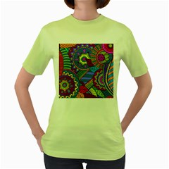 Pop Art Paisley Flowers Ornaments Multicolored Women s Green T Shirt