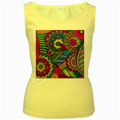Pop Art Paisley Flowers Ornaments Multicolored Women s Yellow Tank Top