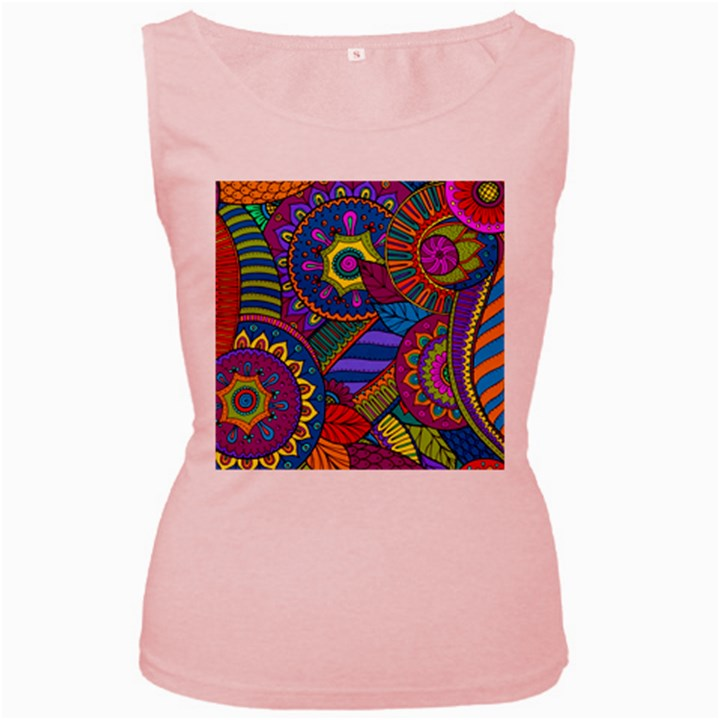 Pop Art Paisley Flowers Ornaments Multicolored Women s Pink Tank Top