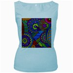 Pop Art Paisley Flowers Ornaments Multicolored Women s Baby Blue Tank Top
