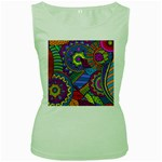 Pop Art Paisley Flowers Ornaments Multicolored Women s Green Tank Top