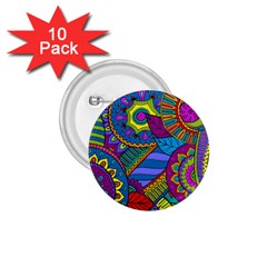 Pop Art Paisley Flowers Ornaments Multicolored 1 75  Buttons (10 Pack)
