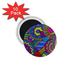 Pop Art Paisley Flowers Ornaments Multicolored 1 75  Magnets (10 Pack)