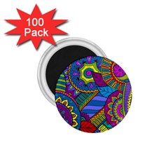 Pop Art Paisley Flowers Ornaments Multicolored 1 75  Magnets (100 Pack)
