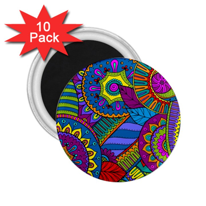 Pop Art Paisley Flowers Ornaments Multicolored 2.25  Magnets (10 pack)