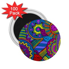 Pop Art Paisley Flowers Ornaments Multicolored 2 25  Magnets (100 Pack)