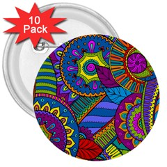 Pop Art Paisley Flowers Ornaments Multicolored 3  Buttons (10 Pack)  by EDDArt