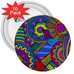 Pop Art Paisley Flowers Ornaments Multicolored 3  Buttons (10 pack)