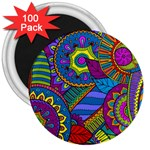 Pop Art Paisley Flowers Ornaments Multicolored 3  Magnets (100 pack) Front