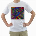 Pop Art Paisley Flowers Ornaments Multicolored Men s T-Shirt (White) (Two Sided)