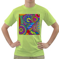 Pop Art Paisley Flowers Ornaments Multicolored Green T Shirt by EDDArt