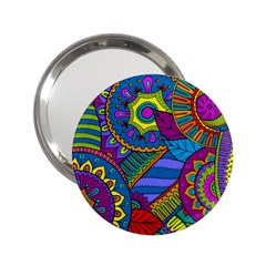 Pop Art Paisley Flowers Ornaments Multicolored 2 25  Handbag Mirrors