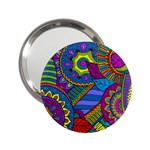 Pop Art Paisley Flowers Ornaments Multicolored 2.25  Handbag Mirrors