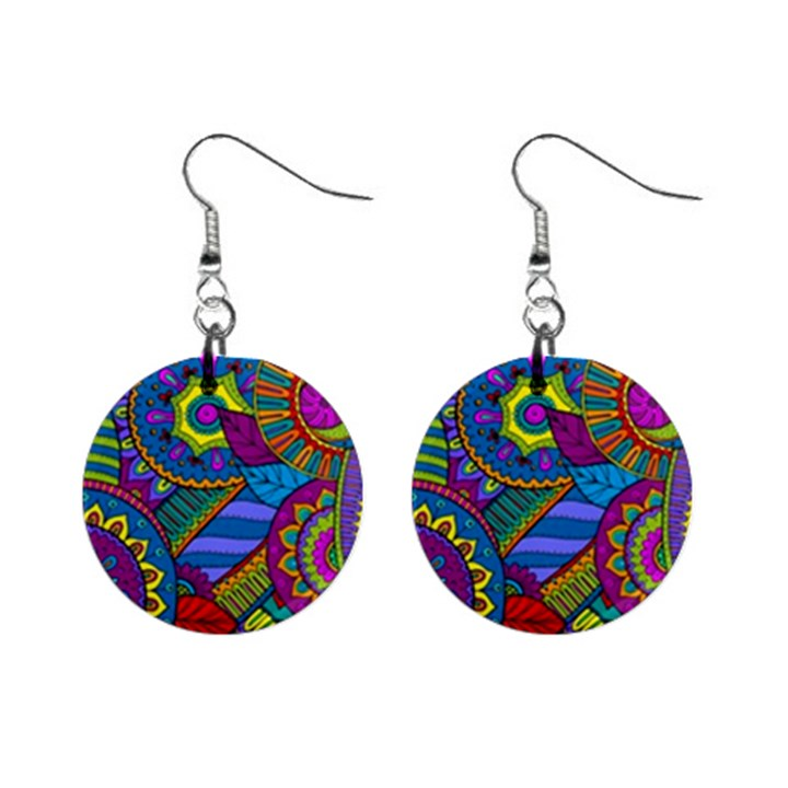 Pop Art Paisley Flowers Ornaments Multicolored Mini Button Earrings