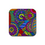 Pop Art Paisley Flowers Ornaments Multicolored Rubber Coaster (Square)