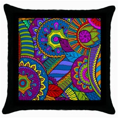 Pop Art Paisley Flowers Ornaments Multicolored Throw Pillow Case (black) by EDDArt