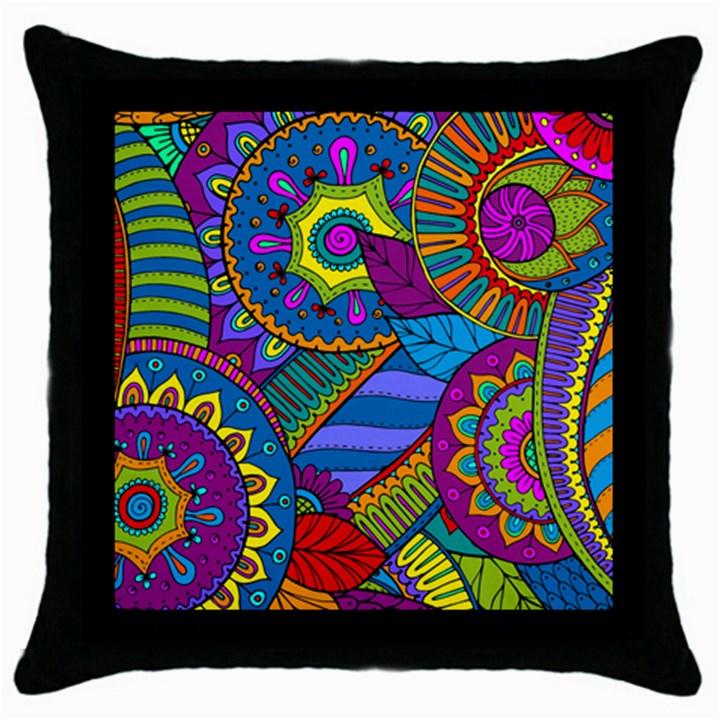 Pop Art Paisley Flowers Ornaments Multicolored Throw Pillow Case (Black)