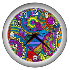 Pop Art Paisley Flowers Ornaments Multicolored Wall Clocks (Silver)