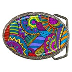 Pop Art Paisley Flowers Ornaments Multicolored Belt Buckles