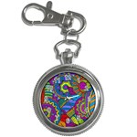 Pop Art Paisley Flowers Ornaments Multicolored Key Chain Watches Front