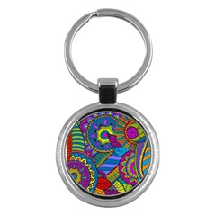 Pop Art Paisley Flowers Ornaments Multicolored Key Chains (round)  by EDDArt